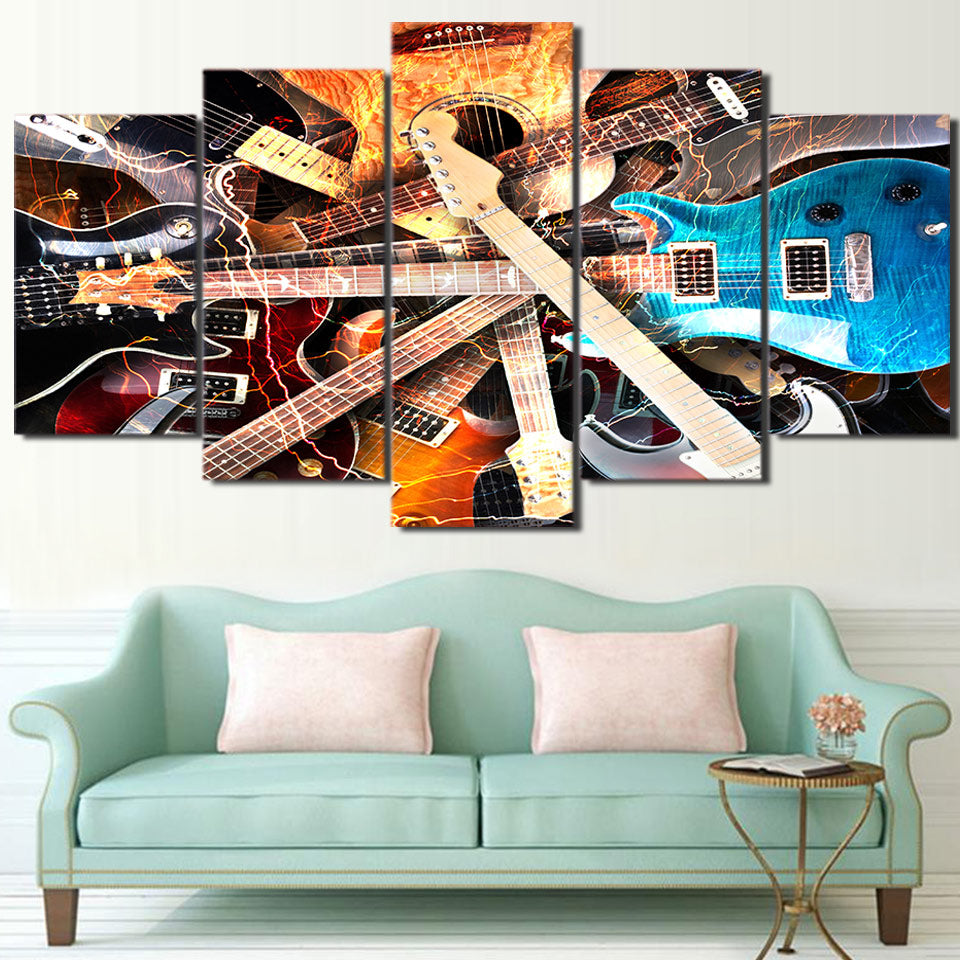 Limited Edition 5 Piece Colorful Kinds Of Guitar Canvas