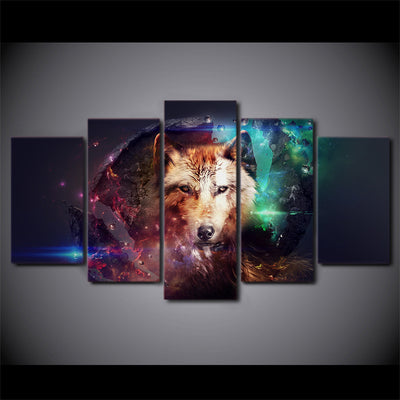 Limited Edition 5 Piece Colorful Wolf Canvas
