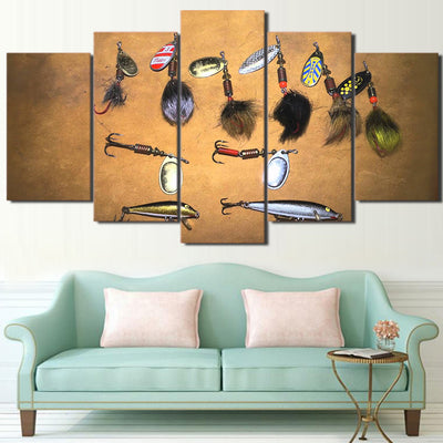 Limited Edition 5 Piece Colorful and Artistic Fishing Hooks Canvas