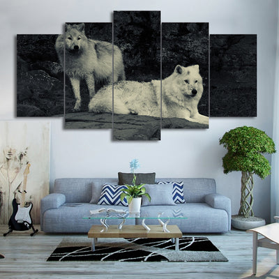 Limited Edition 5 Piece White Couple Wolf Canvas