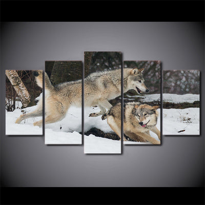 Limited Edition 5 Piece Couple Wolf Playing Canvas