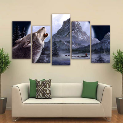 Limited Edition 5 Piece  Howling Wolf in the Mountain Canvas
