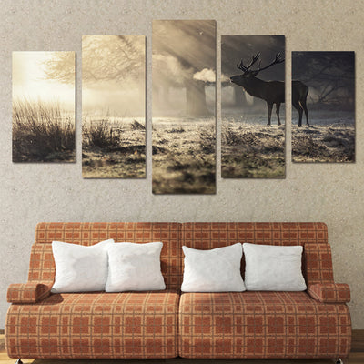 Limited Edition 5 Piece Amazing Deer In The Forest Canvas