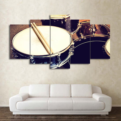 Limited Edition 5 Piece Drum And Drumstick Canvas