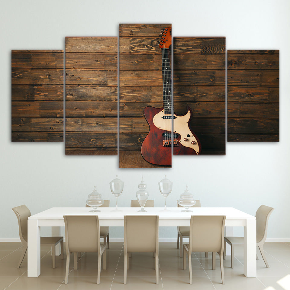 Limited Edition 5 Piece Electric Guitar On The Wall Canvas