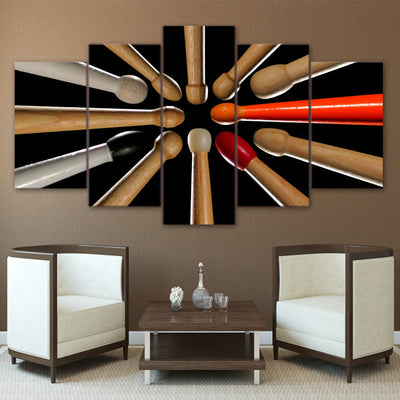 Limited Edition 5 Piece Elegant Wooden Drumsticks Canvas