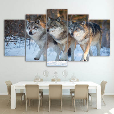 Limited Edition 5 Piece Fearless Wolves Canvas