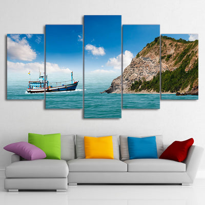Limited Edition 5 Piece Fishing Boat In A Bay Canvas