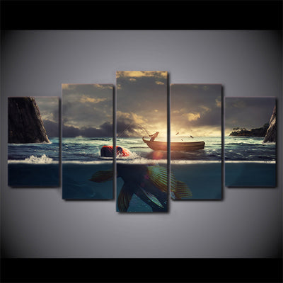 Limited Edition 5 Piece Fishing Boat In Sunset With Big Fish Canvas