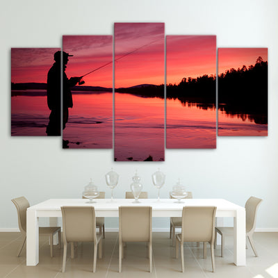 Limited Edition 5 Piece Fishing In Red Sunset