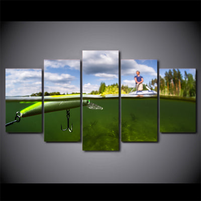 Limited Edition 5 Piece Fishing In The Green Water Canvas