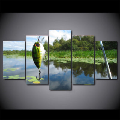 Limited Edition 5 Piece Fishing Hook In Pond Canvas