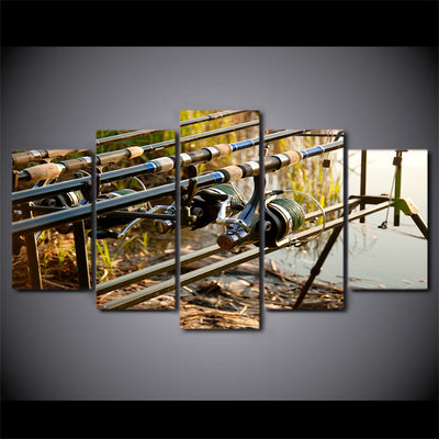 Limited Edition 5 Piece Fishing Rods In The Lake Canvas