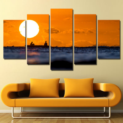 Limited Edition 5 Piece Fishing In Sunset Canvas