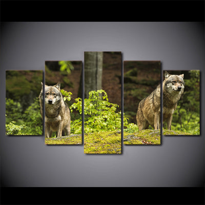 Limited Edition 5 Piece Forest Nature Wolves Canvas