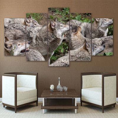 Limited Edition 5 Piece Group of Wolves  Canvas