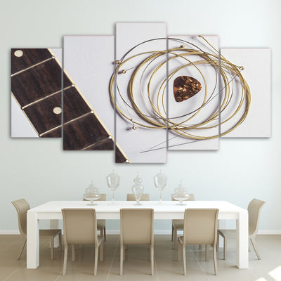 Limited Edition 5 Piece Golden Guitar Strings Canvas
