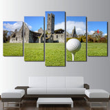 Limited Edition 5 Piece Golf Course In An Old House Canvas