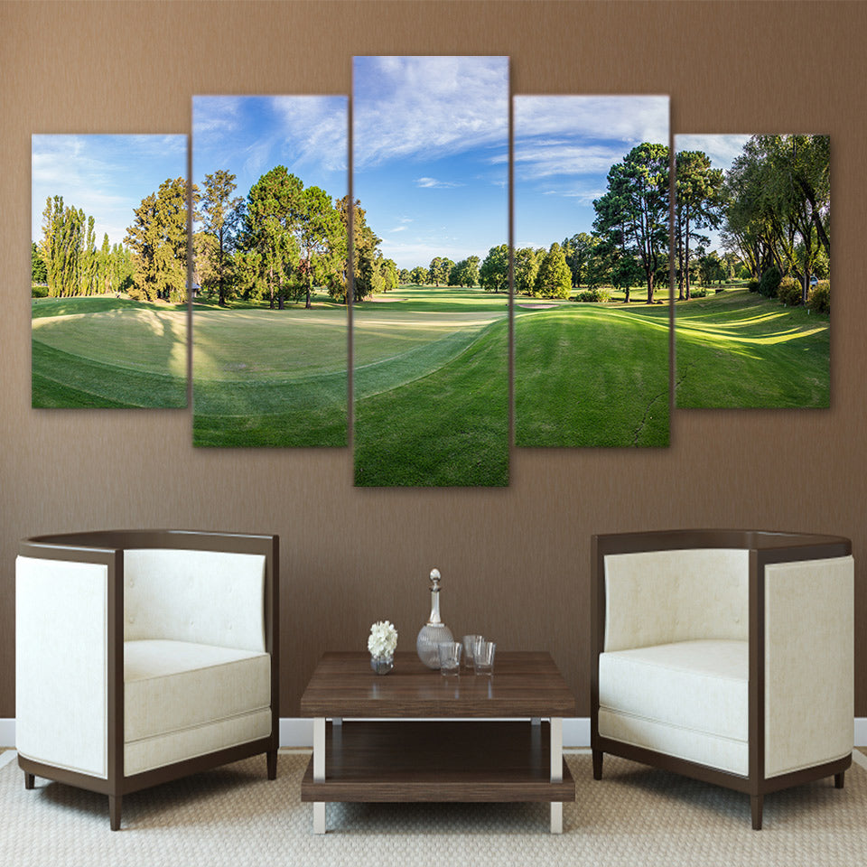 Limited Edition 5 Piece Scenic Golf Course Under A Blue Sky Canvas