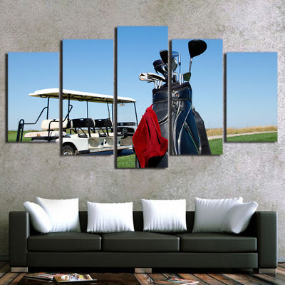 Limited Edition 5 Piece Golf Cart And Golf Clubs Canvas