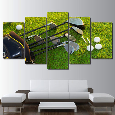 Limited Edition 5 Piece Golf Clubs And Balls In The Field Canvas