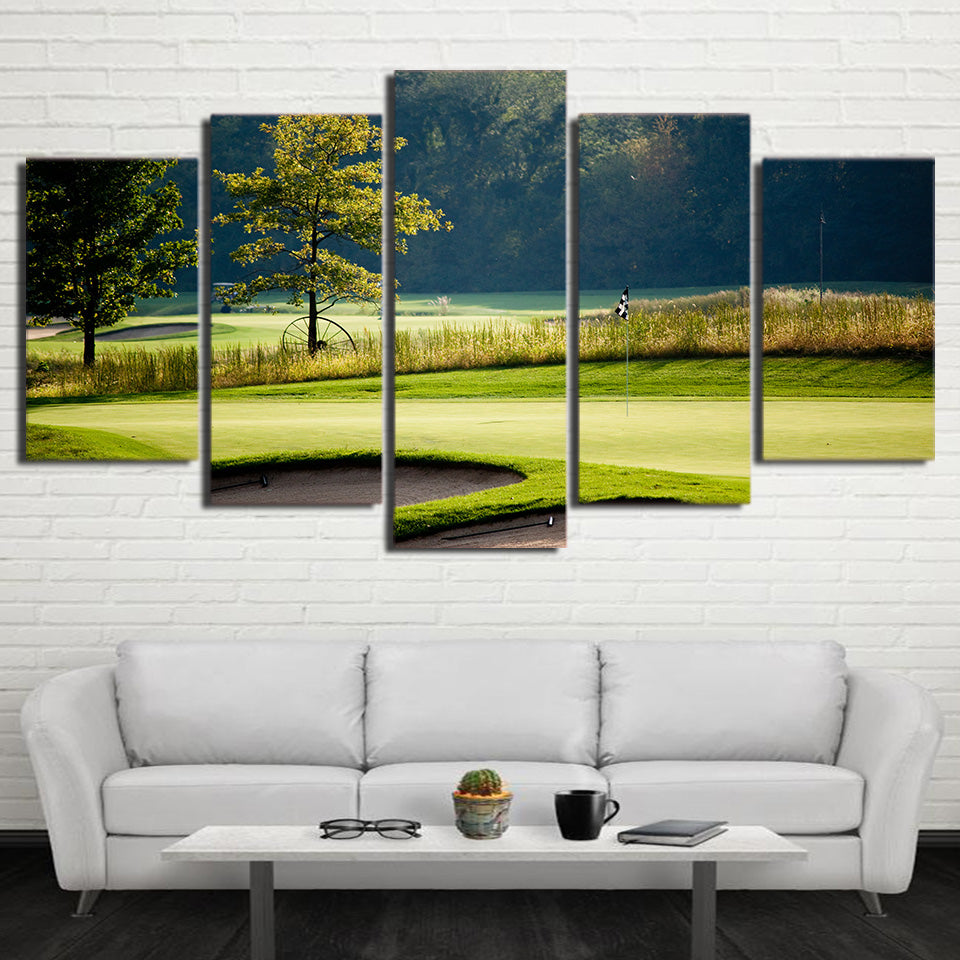 Limited Edition 5 Piece Golf Course In Grass Land Canvas