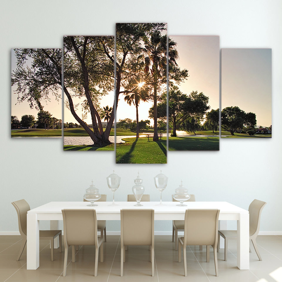 Limited Edition 5 Piece Golf Course in Sunset View Canvas