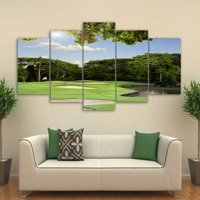 Limited Edition 5 Piece Golf Course Within Trees Canvas