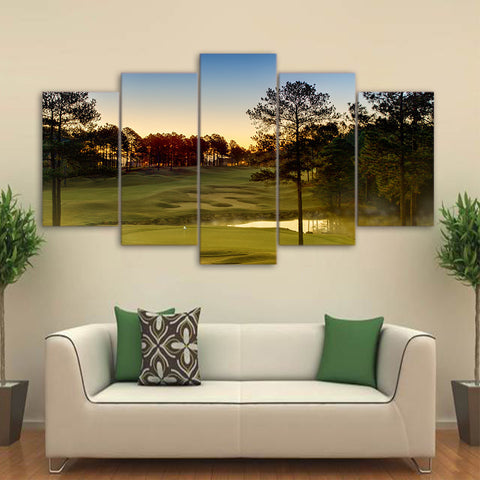 Limited Edition 5 Piece Golf Course With A Lake Canvas