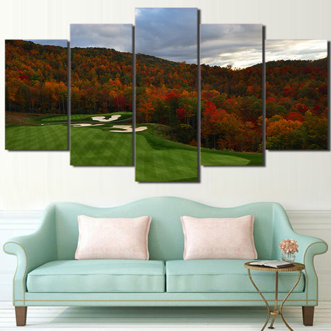 Limited Edition 5 Piece Golf Course in Autumn Season Canvas