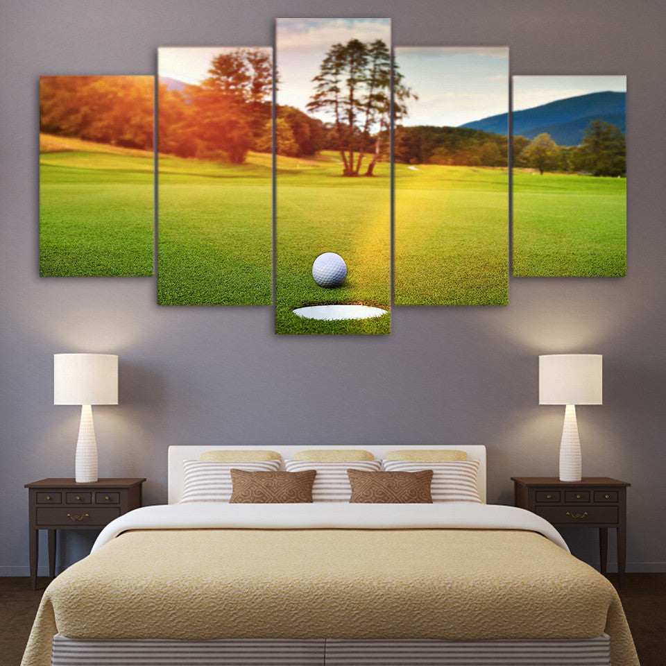 Limited Edition 5 Piece Golf Course Sunset Canvas