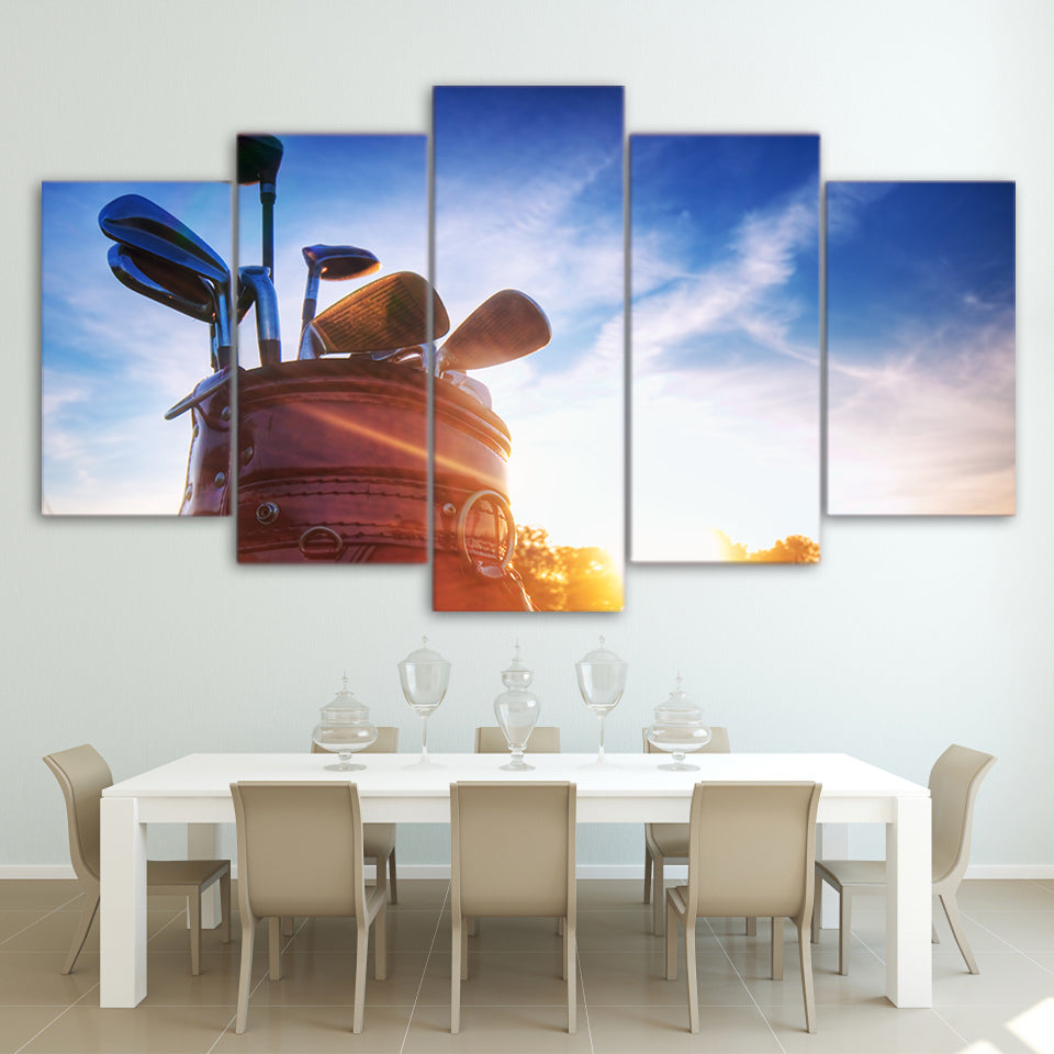 Limited Edition 5 Piece Golf Clubs Under a Clear Blue Sky Canvas