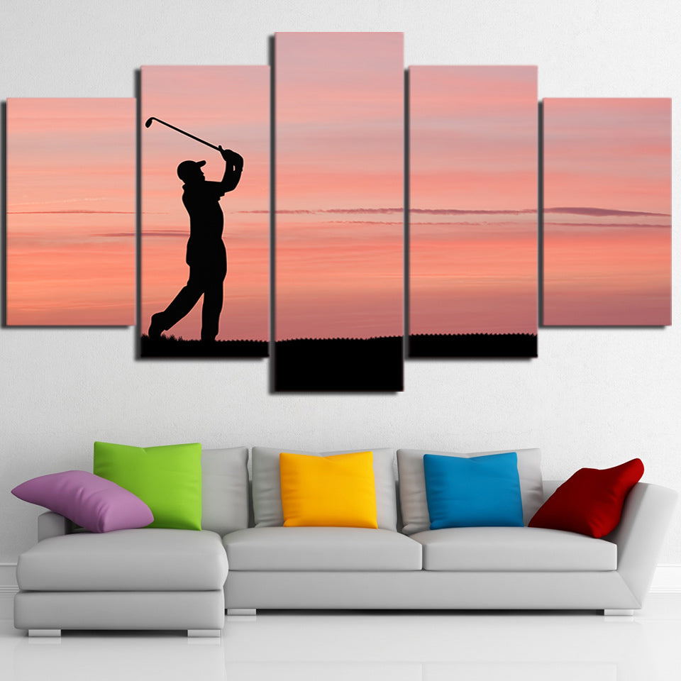Limited Edition 5 Piece Golf In A Beautiful Sunset Canvas