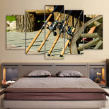 Limited Edition 5 Piece Gorgeous Fishing Rods Canvas