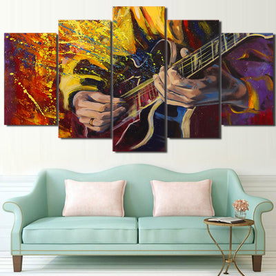 Limited Edition 5 Piece Wonderful Guitar Play Artwork Canvas