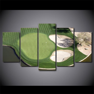 Limited Edition 5 Piece Green Field Golf Course Aerial  View Canvas
