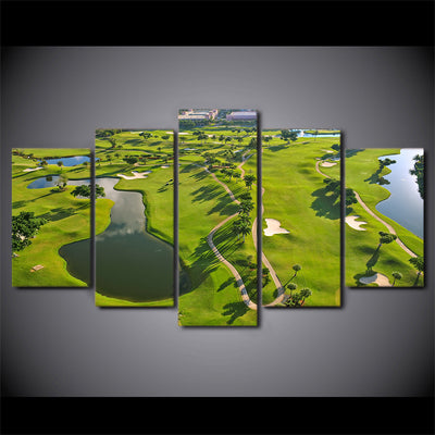 Limited Edition 5 Piece Green GolfCourse Landscape Canvas