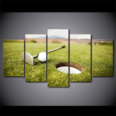 Limited Edition 5 Piece Green Golf Hole Canvas
