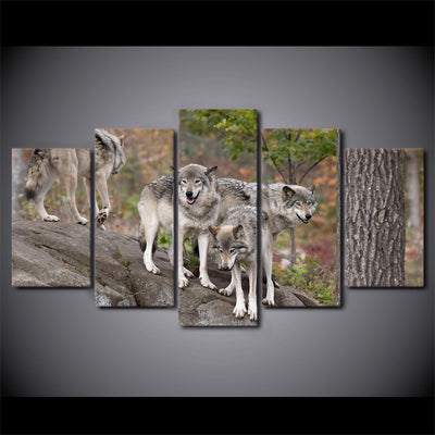 Limited Edition 5 Piece Group Of Wild Wolves Canvas