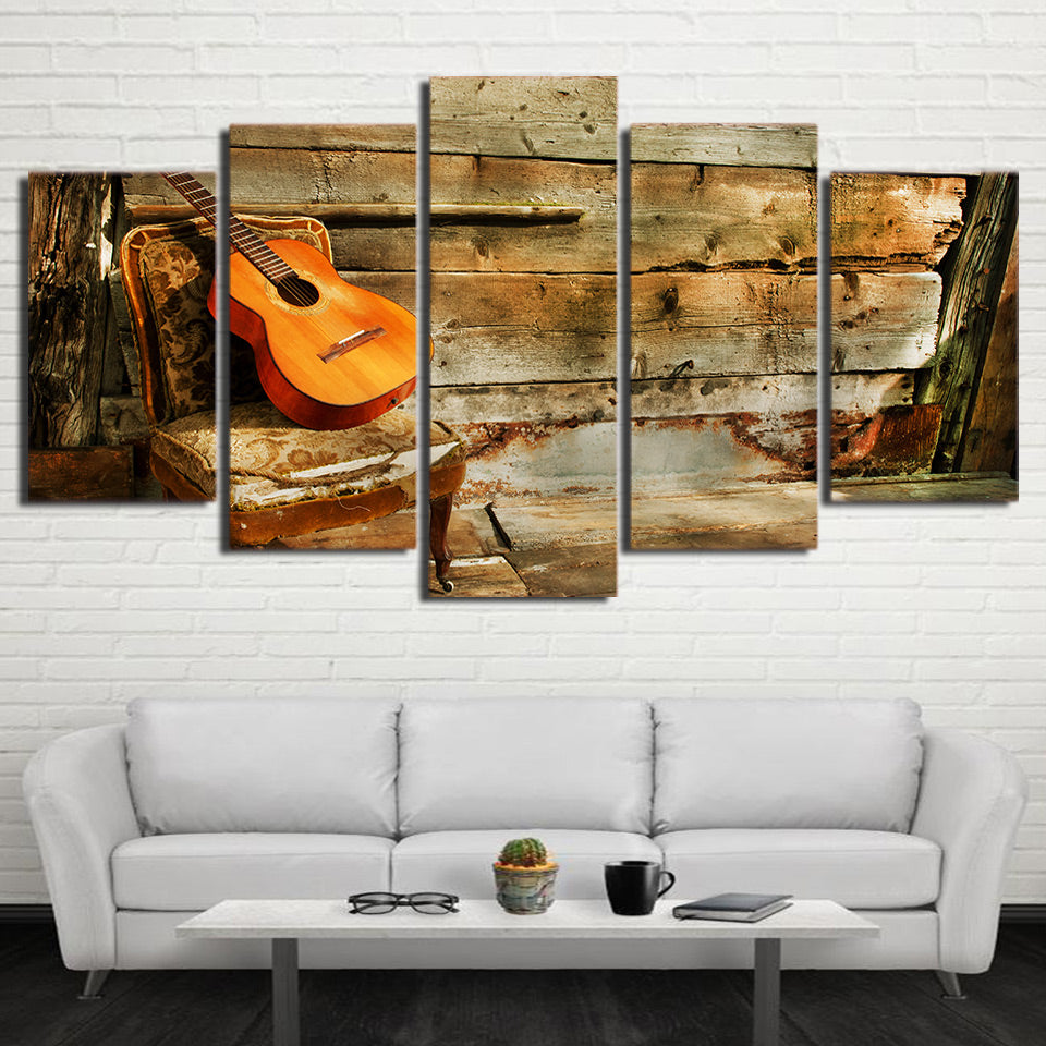 Limited Edition 5 Piece Guitar In An Old Chair Canvas