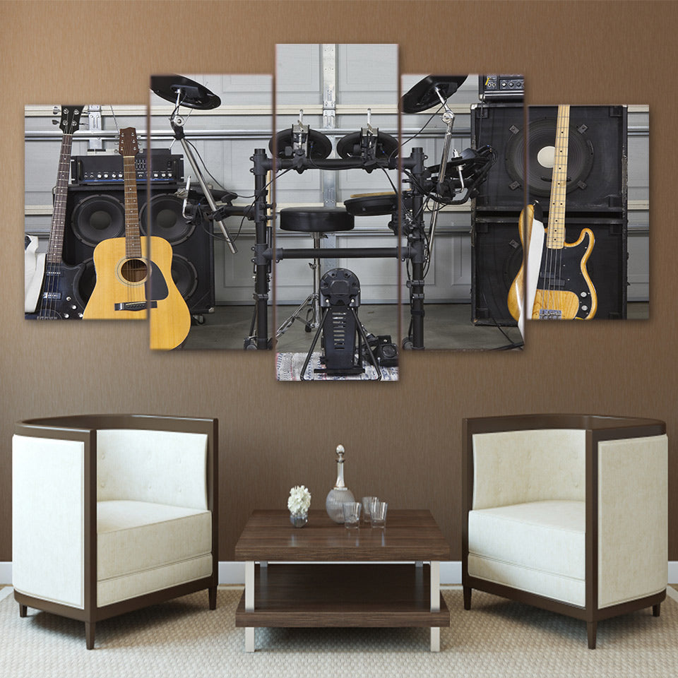 Limited Edition 5 Piece Guitars and Other Music Instruments Canvas