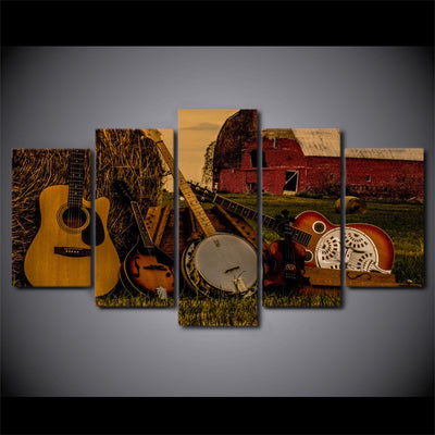 Limited Edition 5 Piece Guitars In A Barn Canvas