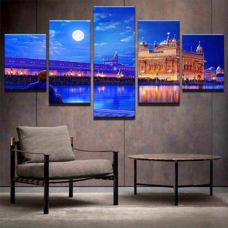Limited Edition 5 Piece Golden Temple Canvas