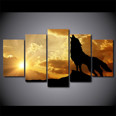 Limited Edition 5 Piece Howling Wolf In Sunset Canvas