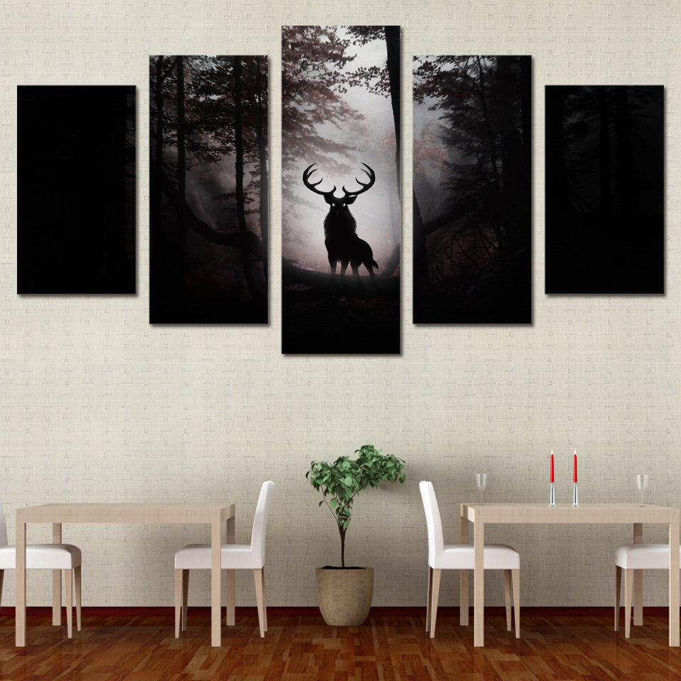Limited Edition 5 Piece Mysterious Deer Canvas