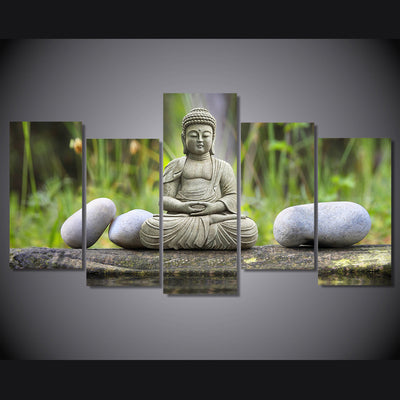 Limited Edition 5 Piece Buddha Stone Canvas