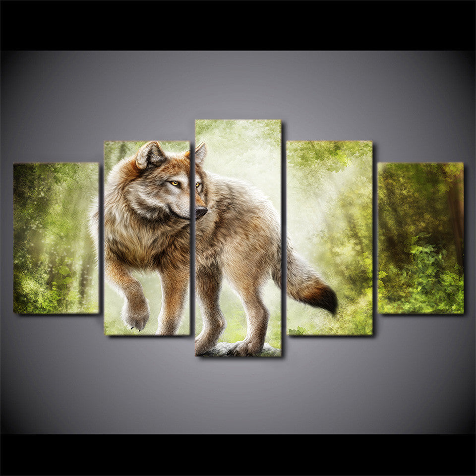 Limited Edition 5 Piece Wolf Forest Canvas