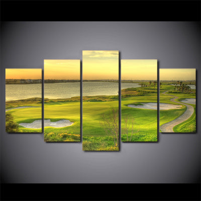 Limited Edition 5 Piece Golf Course Beside A Lake Canvas