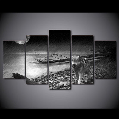 Limited Edition 5 Piece Wolf In The River Canvas