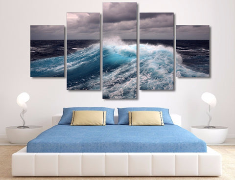 Limited Edition 5 Piece Big Ocean Waves Canvas